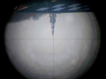 The telescope has an inverted view and two stadia hairs.
