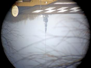 An inverted view through the telescope showing the stadia hairs.