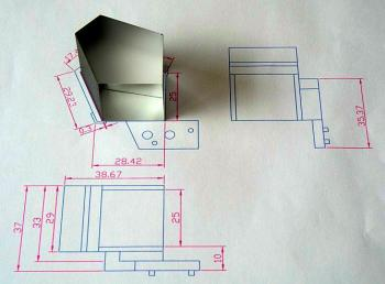 The AutoCAD drawing for the  prism attachment.
