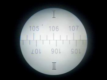 The vertical circle has no micrometer and is read and estimated directly (106°-04').