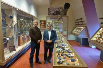 Peter Louwman (right) and I surrounded by the Louwman Collection of Historic Telescopes.