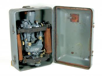 The 1943 Cooke, Troughton & Simms Tavistock theodolite in its original case.