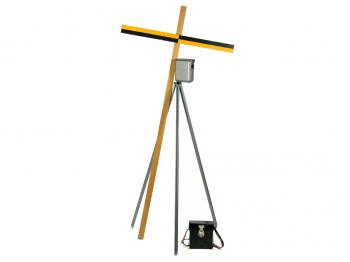 The Cowley level with leather case, levelling staff and tripod.